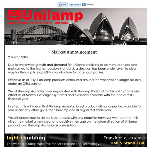 Unilamp OEM Newsletter